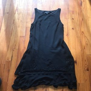 Black Dress with Ruffles and Beads on Bottom